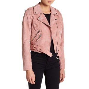 Sebby Faux Pink Suede Moto Jacket